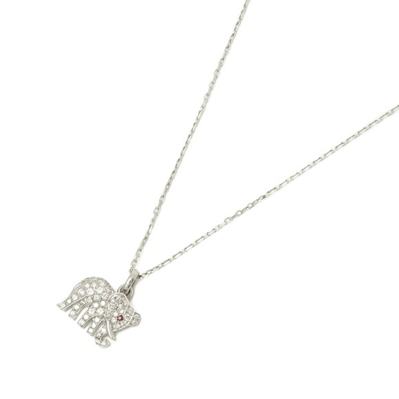Cartier 18k White Gold Small Bespoke Elephant Pendant Necklace