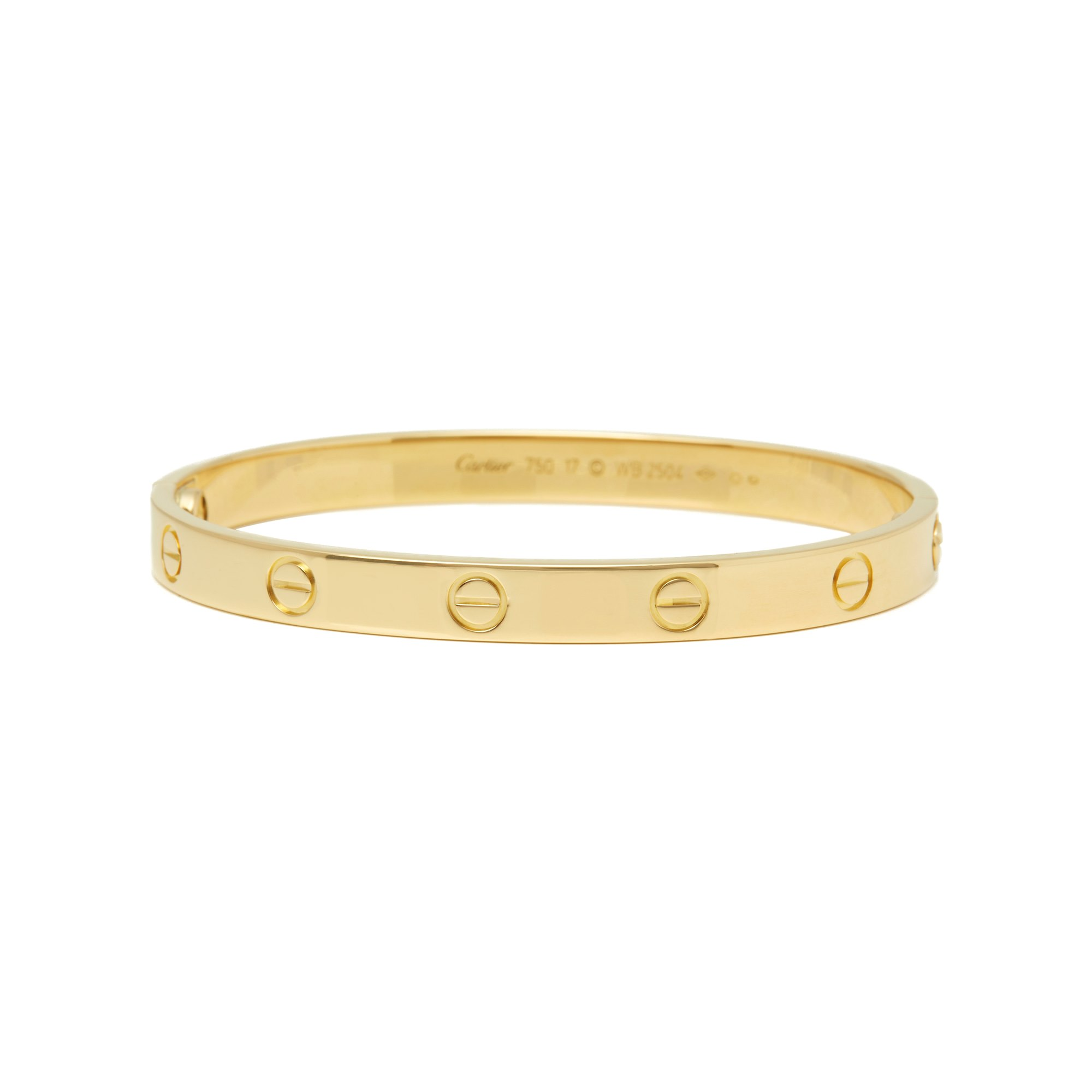 Cartier 18k Yellow Gold Love Bangle Size 17