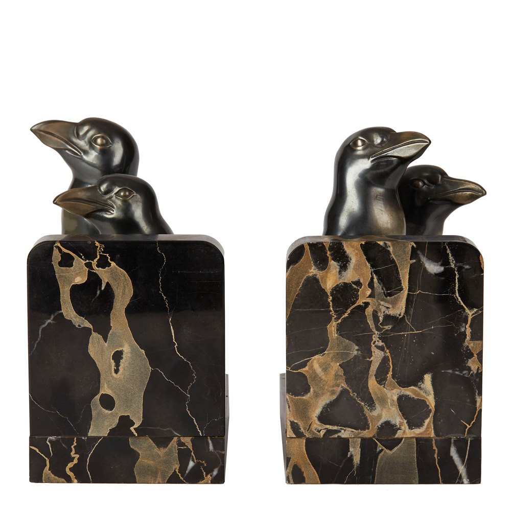 PAIR ART DECO PENGUIN MOUNTED BOOKENDS BY MAURICE FONT Circa 1920-1949