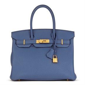 Hermès Blue Brighton Togo Leather Birkin 30cm