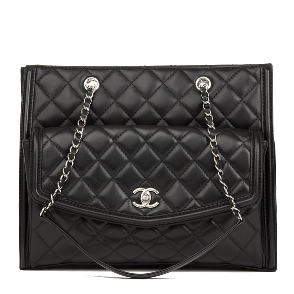 Chanel Black Quilted Lambskin Classic Shoulder Tote
