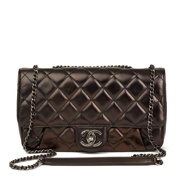 Chanel Black Quilted Iridescent Calfskin Leather Classic Single Flap Bag