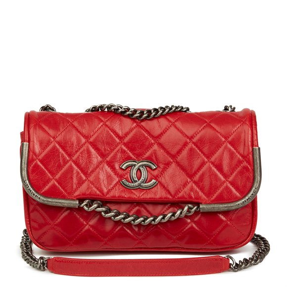 Chanel Red Quilted Aged Calfskin Leather Single Flap Bag