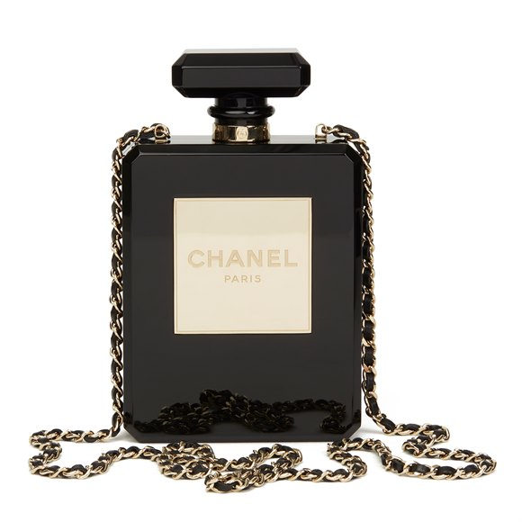 Chanel Black Plexiglass No. 5 Perfume Bottle Bag