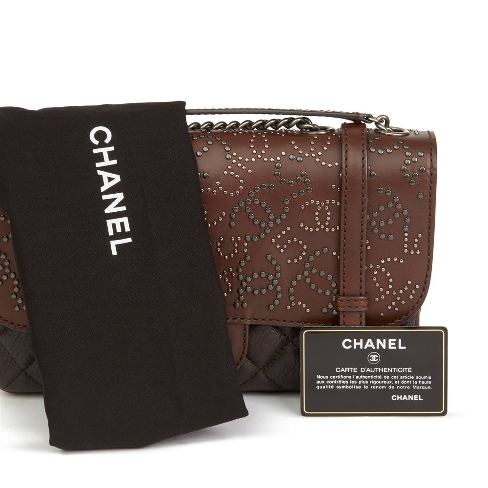 Chanel Brown Studded Calfskin Leather Paris-Dallas Studded Buckle Flap Bag