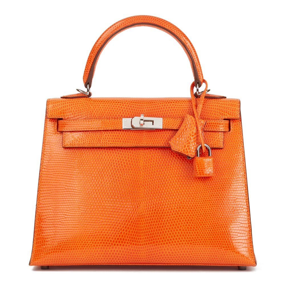 Hermès Tangerine Shiny Niloticus Lizard Leather Kelly 25cm Sellier