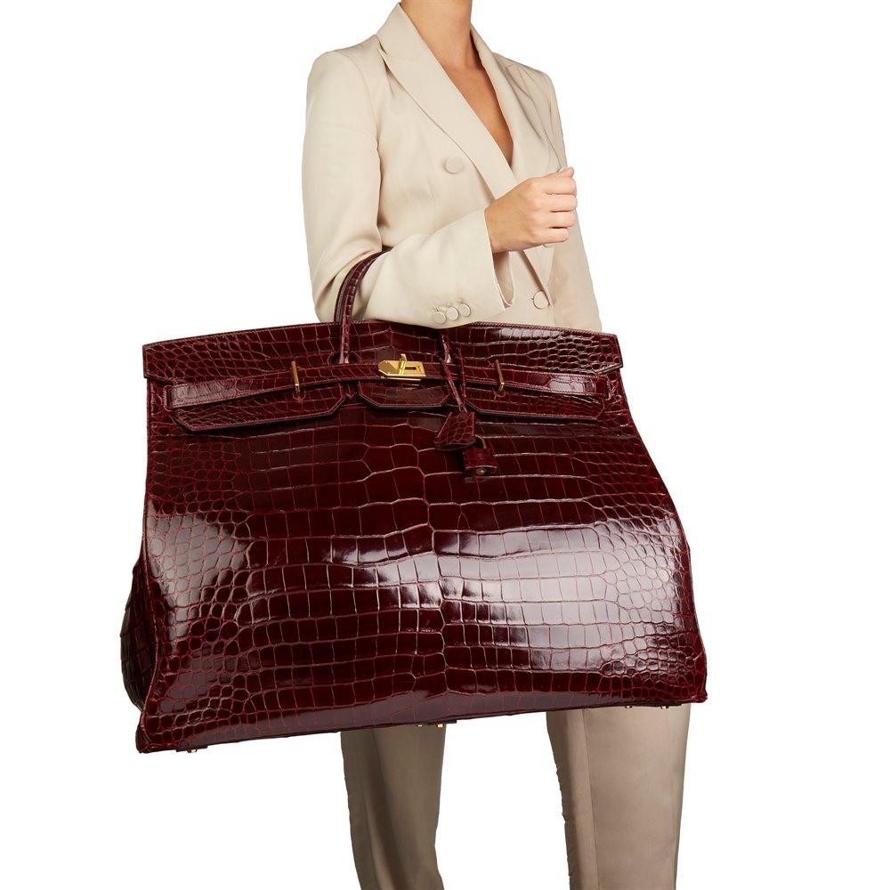Hermès Bordeaux Shiny Niloticus Crocodile Leather Vintage Birkin 60cm HAC