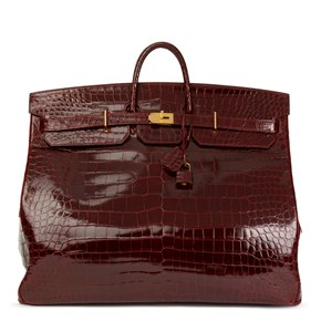Hermès Bordeaux Shiny Niloticus Crocodile Leather Vintage Birkin 60cm HAC