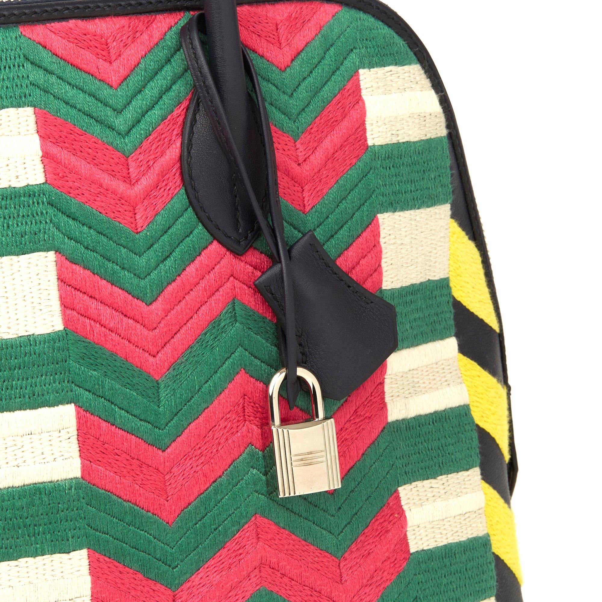 Hermès Indigo Multicolour Embroidered Swift Leather Zig Zag Bolide 1923 30cm