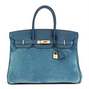 Hermès Blue Thalassa Veau Doblis & Swift Leather Grizzly Birkin 35cm