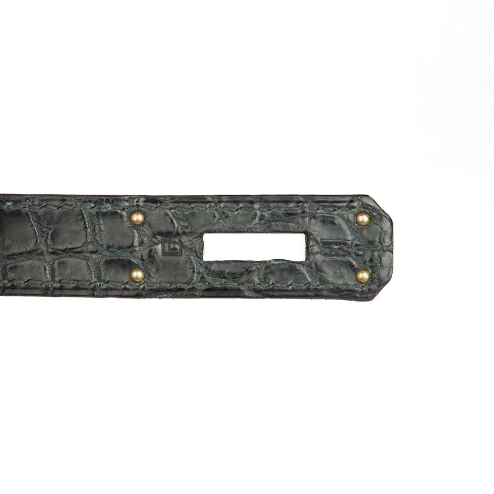 Hermès Vert Fonce Matte Porosus Crocodile Leather Birkin 35cm