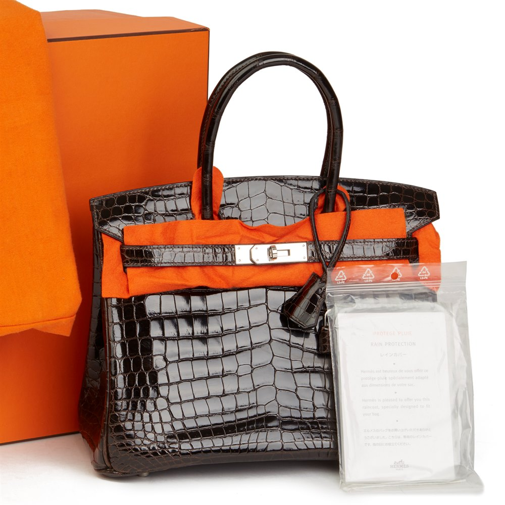 Hermès Marron Fonce Shiny Niloticus Crocodile Leather Birkin 30cm