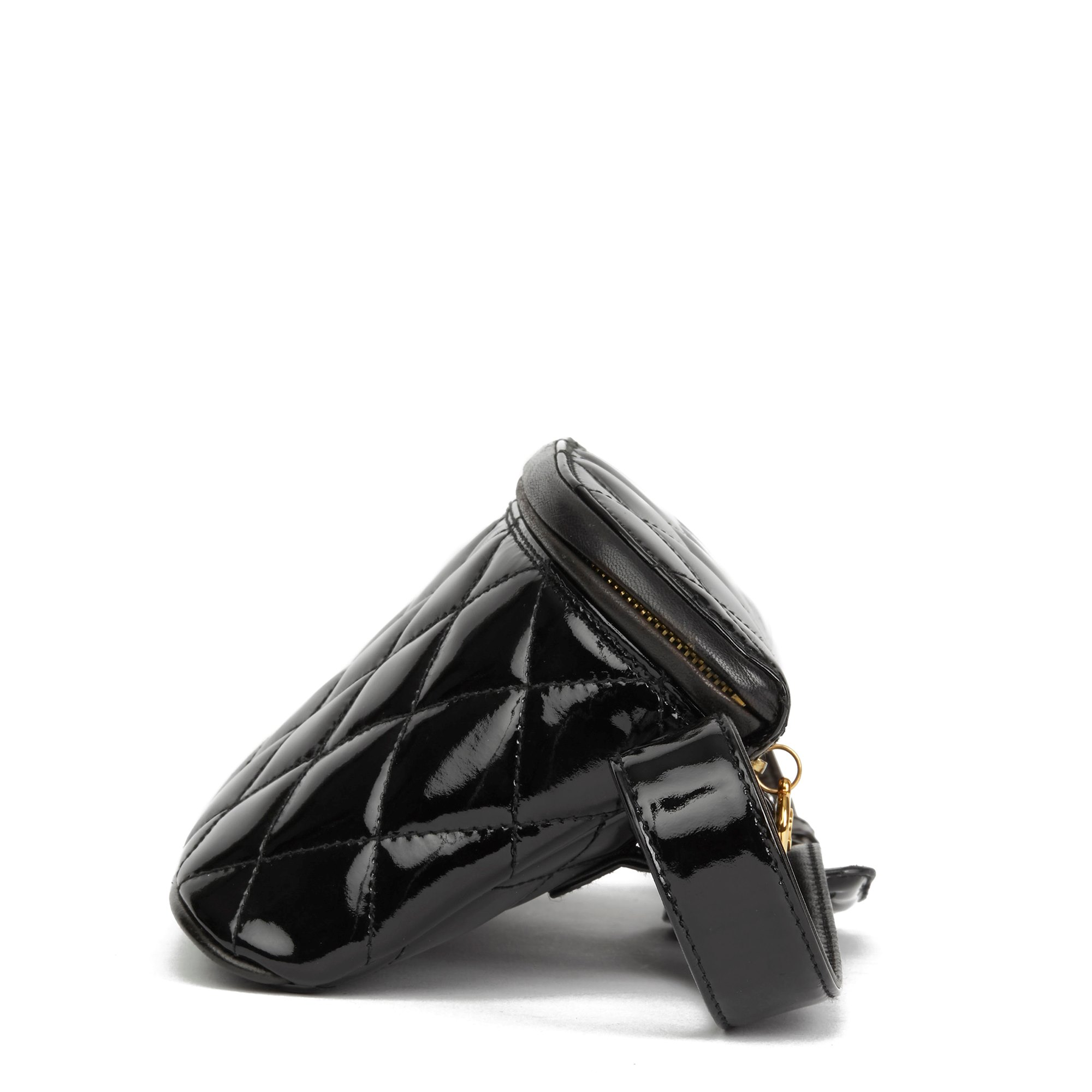 Chanel Black Quilted Patent Leather Vintage Timeless Belt Bag