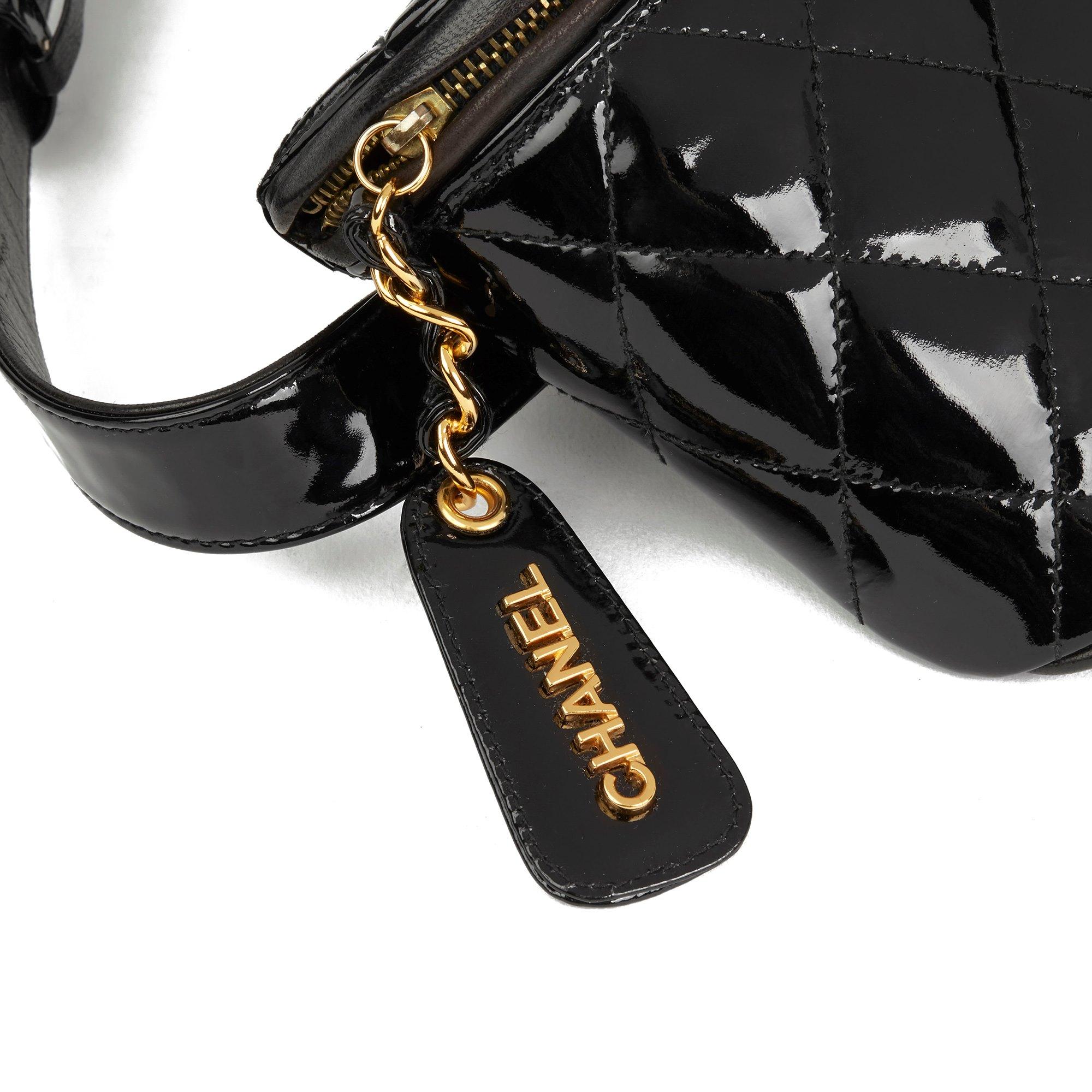 Chanel Black Quilted Patent Leather Vintage Timeless Belt Bag