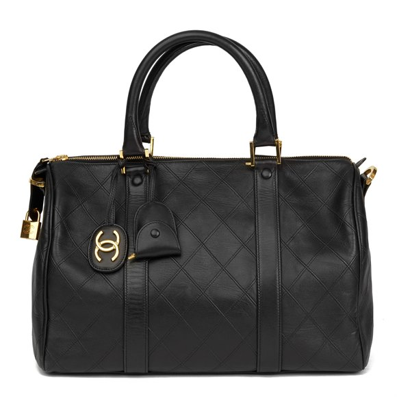 Chanel Black Quilted Lambskin Leather Boston 35