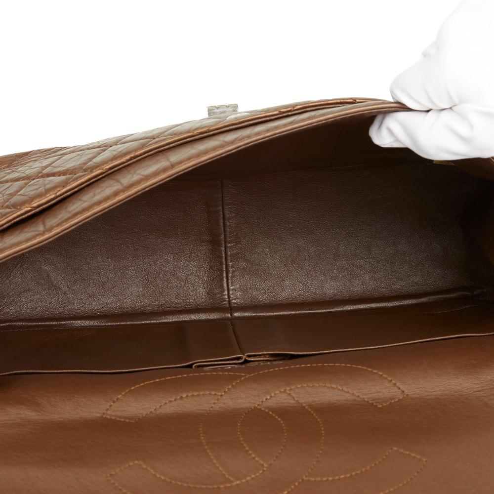 Chanel Dark Bronze Metallic Aged Calfskin Leather 2.55 Reissue 227 Double Flap Bag