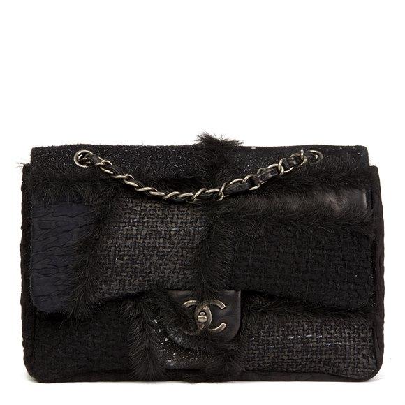 Chanel Black Tweed Fabric, Lambskin Leather & Fantasy Fur Patchwork Jumbo Classic Single Flap Bag