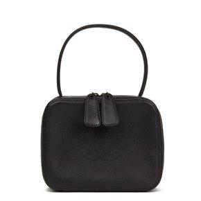 Chanel Black Caviar Leather Vintage Timeless Top Handle Vanity Handbag