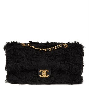 Chanel Black Fantasy Fur Classic Foldover Flap Bag