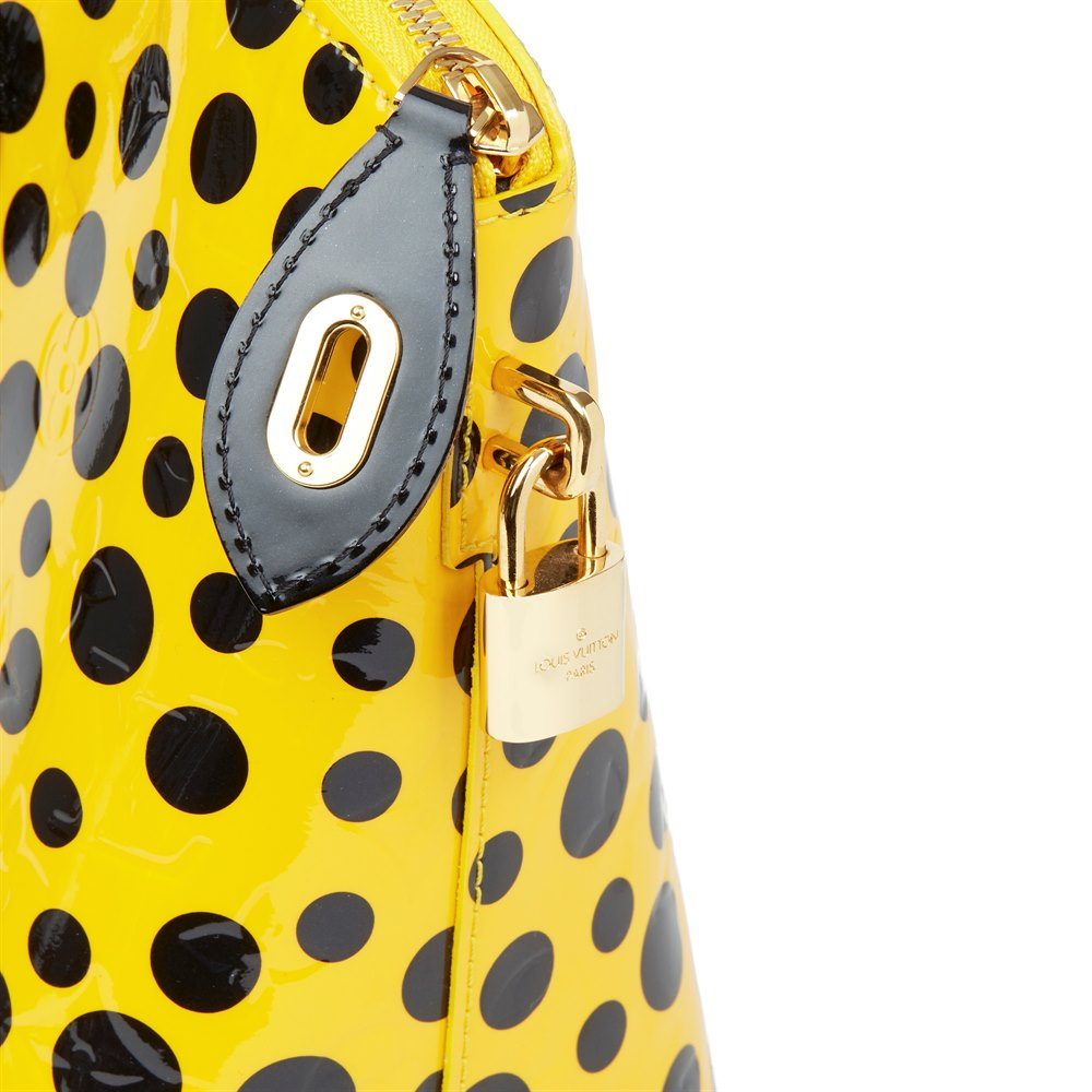 Louis Vuitton Yellow Vernis Leather Dots Infinity Yayoi Kusama Lockit MM
