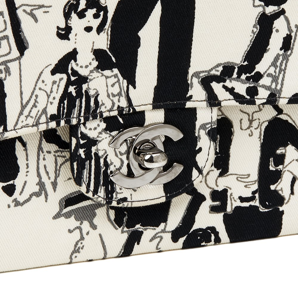 Chanel Black & White Printed Fabric Karl Lagerfeld Sketches Medium Classic Double Flap Bag
