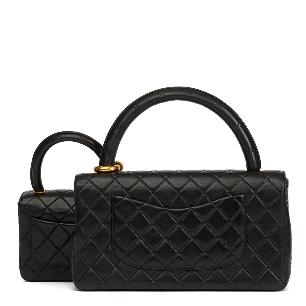 Chanel Black Quilted Lambskin Vintage Medium Classic Kelly Flap Bag Mini Charm Set