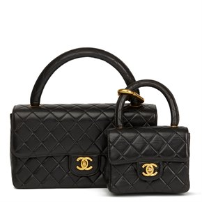 Chanel Black Quilted Lambskin Vintage Medium Classic Kelly Flap Bag Mini Charm Set