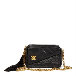 Chanel Black Quilted Lambskin Vintage Classic Fringe Shoulder Bag