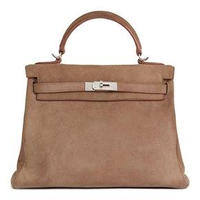Hermès Etoupe Veau Doblis Kelly 32cm Retourne