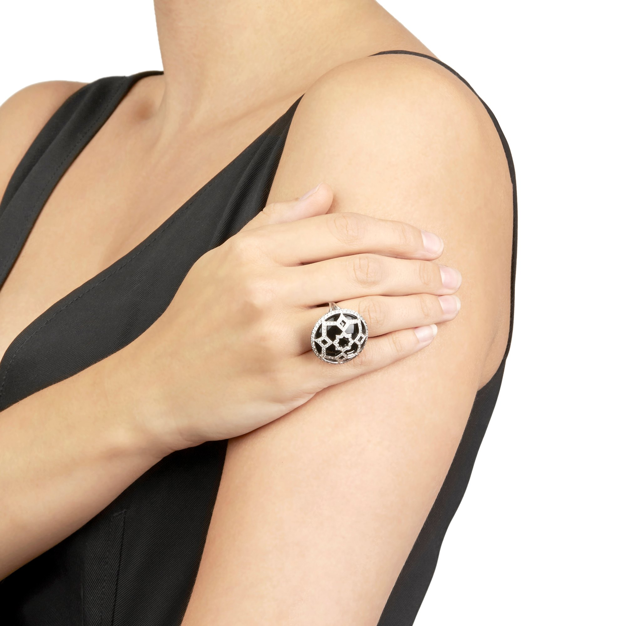 Tiffany & Co. 18k White Gold Onyx & Diamond Paloma Picasso Zellige Ring