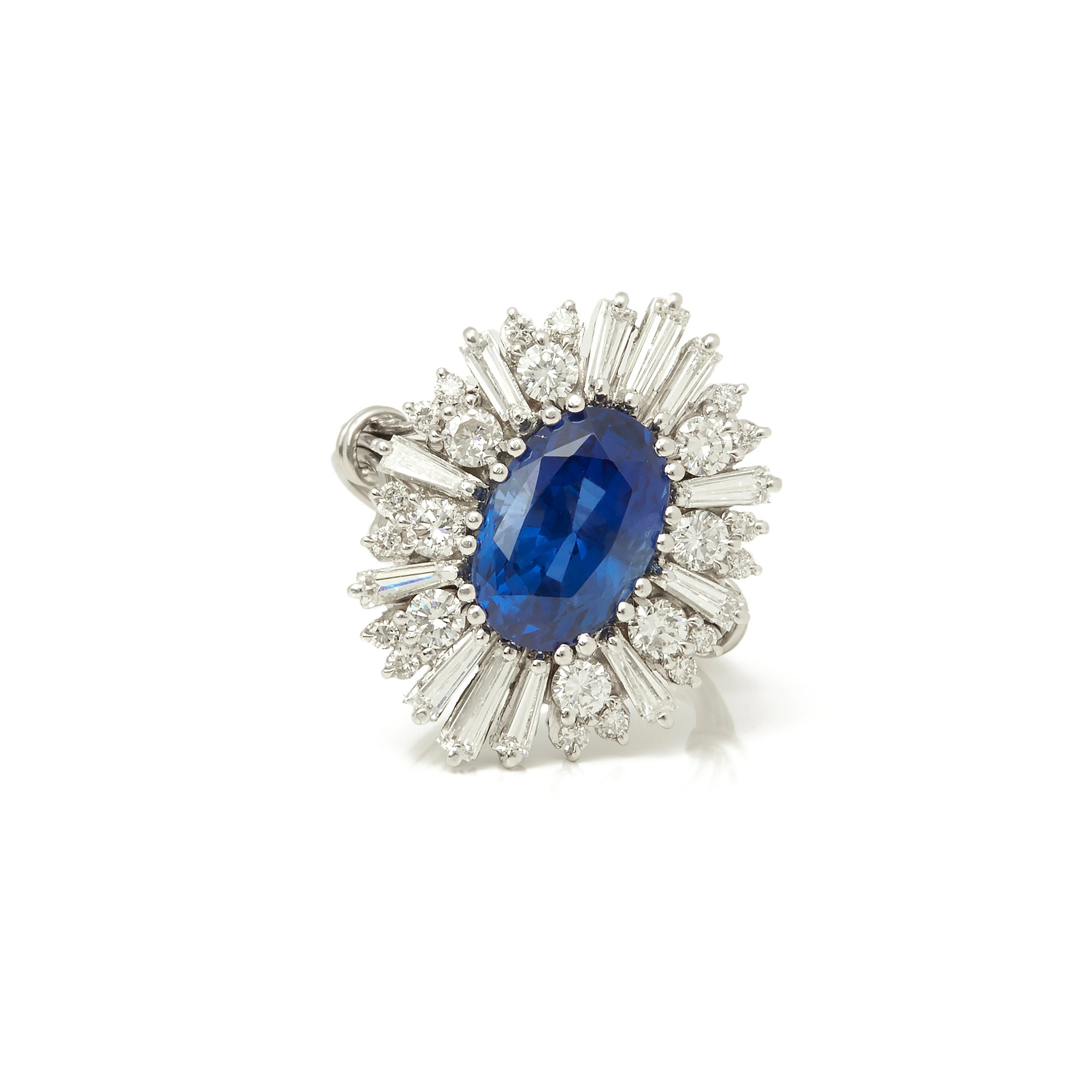 Saffier 18k White Gold Burmese Sapphire & Diamond Cocktail Ring