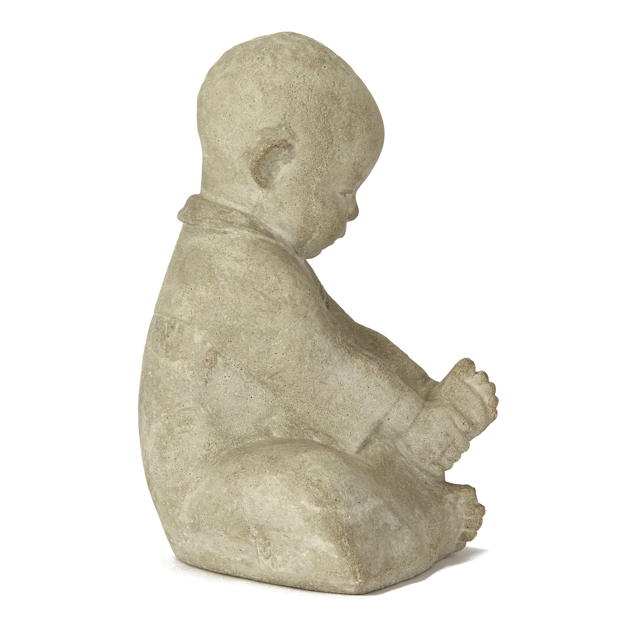 CONTINENTAL CARVED STONE FIGURE OF A SEATED INFANT 20TH C. 20th Century