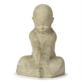 CONTINENTAL CARVED STONE FIGURE OF A SEATED INFANT 20TH C.