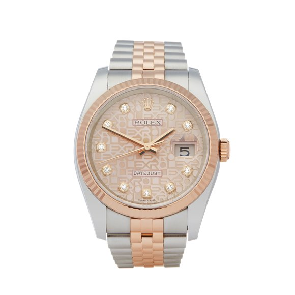 Rolex DateJust 36 Diamond Stainless Steel & Rose Gold - 116231