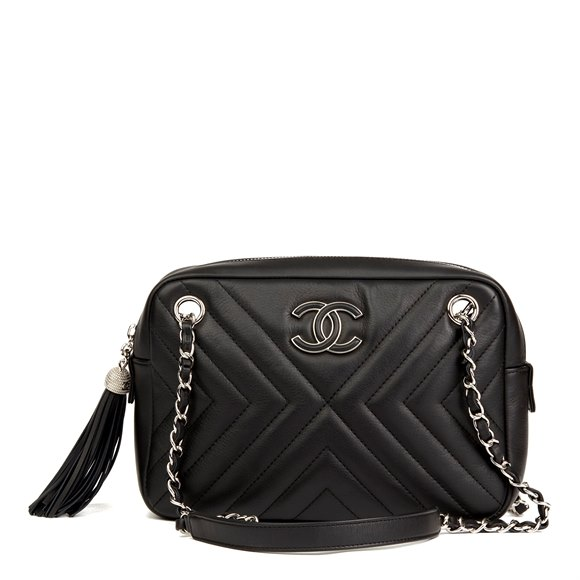 Chanel Black Chevron Quilted Calfskin Leather Classic Fringe Camera Bag