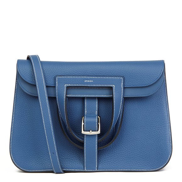 Hermès Blue Agate Clemence Leather Halzan 31cm