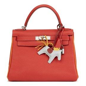 Hermès Rouge Vif & Poitron Togo Leather Special Order Kelly 28cm Retourne