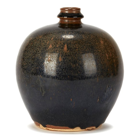 CHINESE HARESFUR GLAZED BULBOUS POTTERY VASE