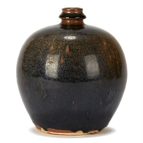 CHINESE HARESFUR GLAZED BULBOUS SONG STYLE POTTERY VASE