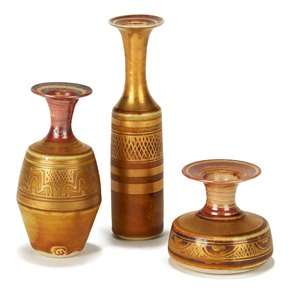 MARY RICH THREE GOLD LUSTRE MINIATURE STUDIO CERAMIC VASES