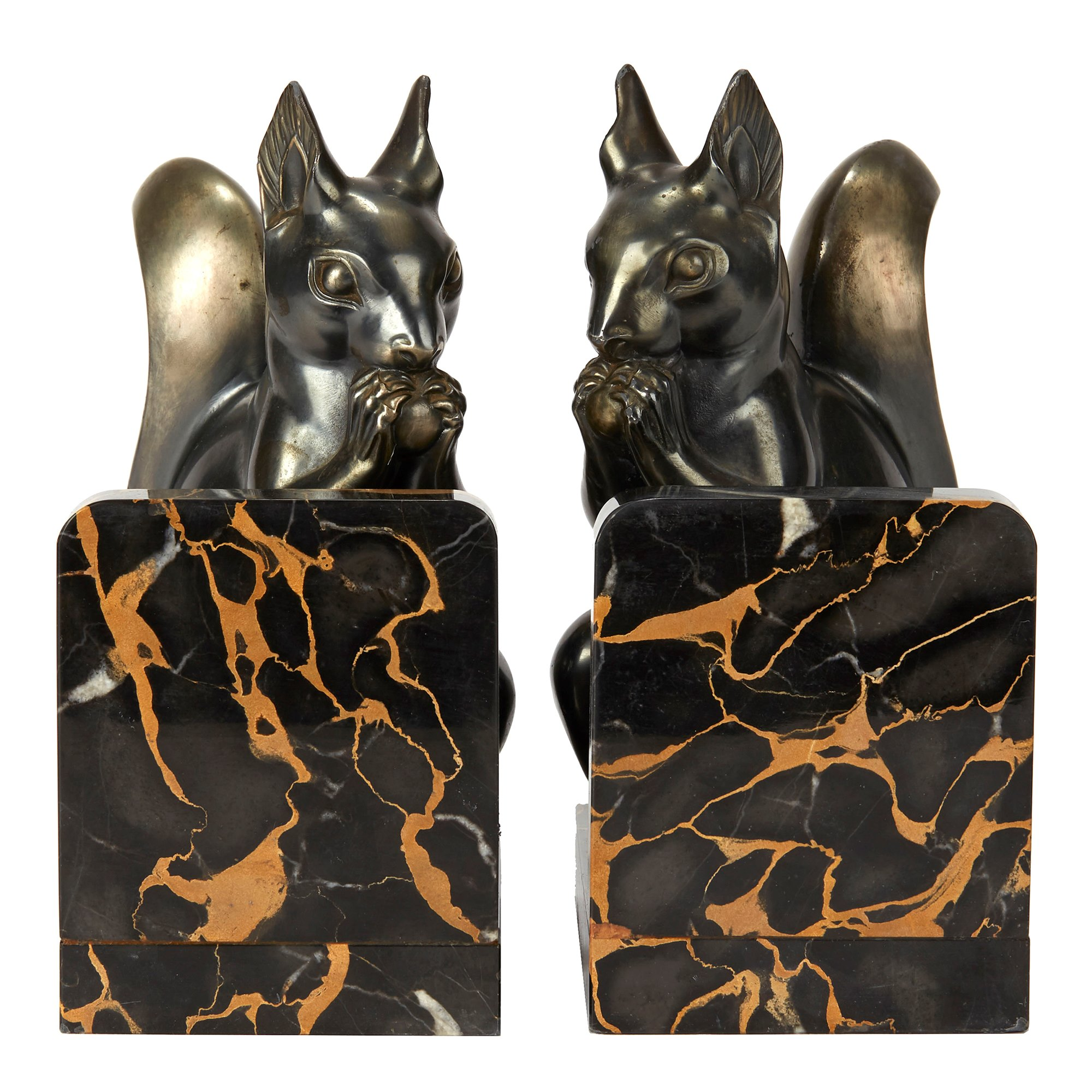 PAIR ART DECO SQUIRREL MOUNTED BOOKENDS BY MAURICE FONT Circa 1920-40