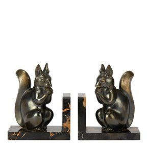 PAIR ART DECO SQUIRREL MOUNTED BOOKENDS BY MAURICE FONT