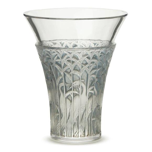 RENE LALIQUE IBIS BLUE TINTED GLASS VASE DESIGNED 1934
