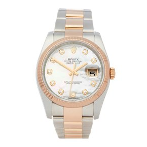 Rolex DateJust 36 Diamond Mother of Pearl Stainless Steel & Rose Gold - 116231