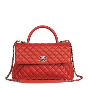 Chanel Red Quilted Caviar Leather Medium Coco Handle