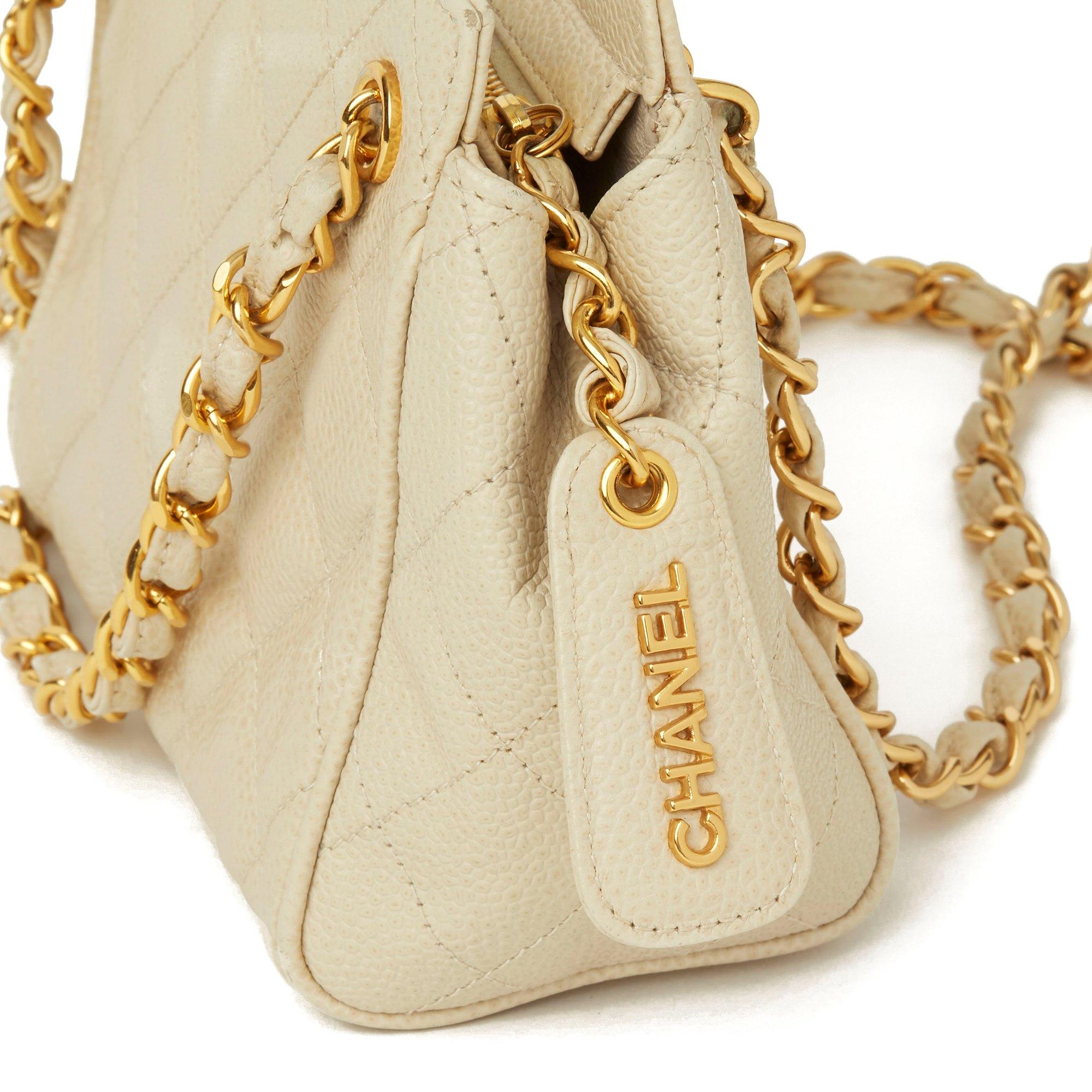 Chanel Beige Quilted Caviar Leather Vintage Mini Timeless Shoulder Bag