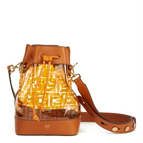 Fendi Brown Calfskin Leather & Monogram PVC Mon Tresor Bucket Bag