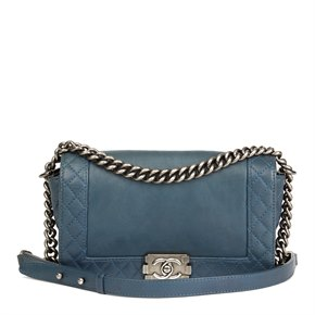 Chanel Teal Quilted Calfskin Leather Medium Le Boy Reverso