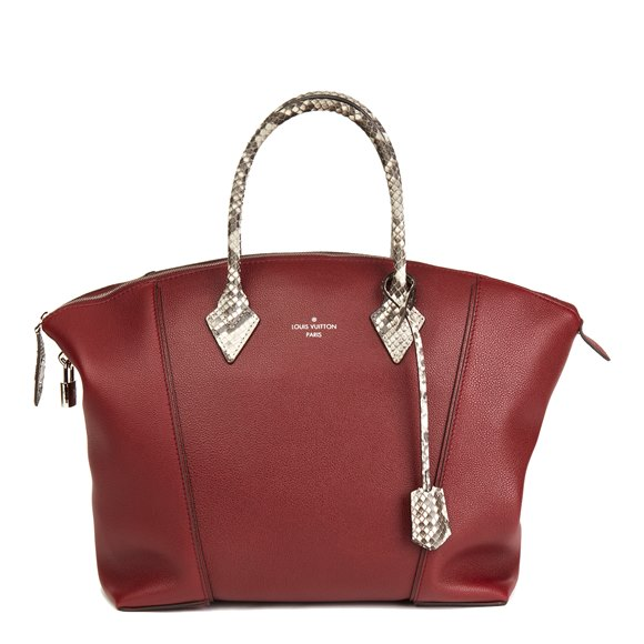 Louis Vuitton Burgundy Veau Cachemire Leather & Natural Python Leather Soft Lockit MM