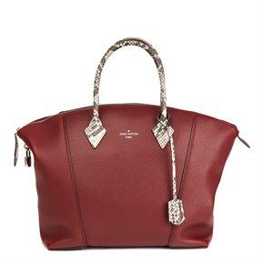 Louis Vuitton Burgundy Veau Cachemire Leather & Natural Python Leather Soft Lockit MM